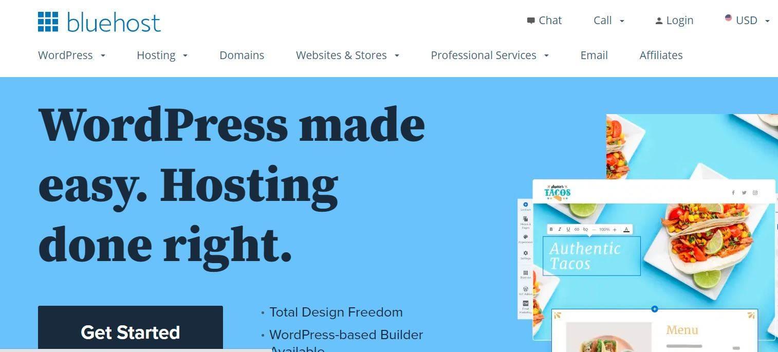 Bluehost hosting, hosting on bluehost,  bluehost wordpress hosting